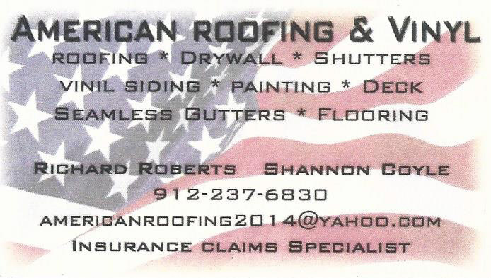 Fake American Roofing Business Card